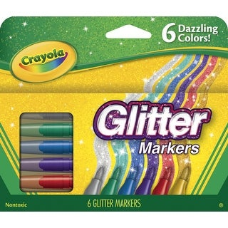 Crayola Non-Toxic Glitter Marker Set, Assorted Colors, Set of 6