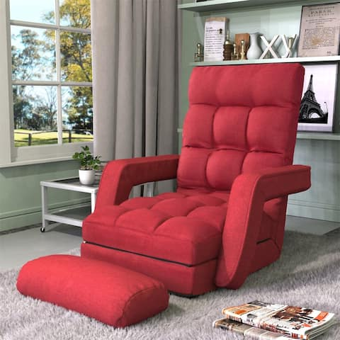 Merax Folding Lazy Sofa with Armrests and a Pillow