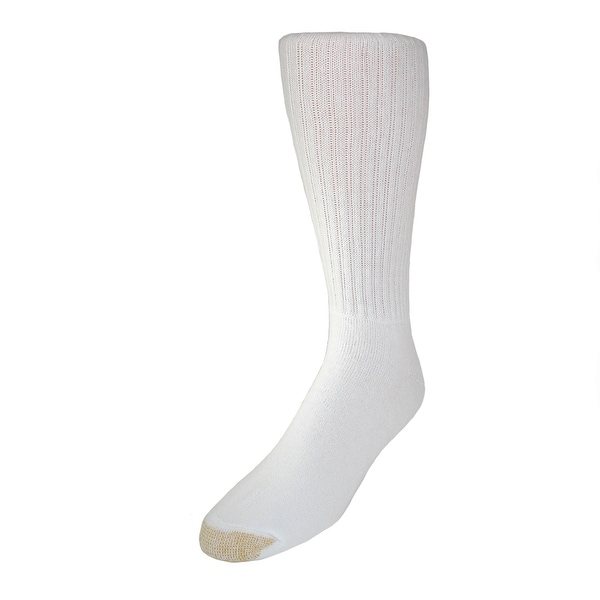 Gold Toe Men's Big & Tall Cotton Crew Socks (Pack of 6), Shoe Size 12-16, White
