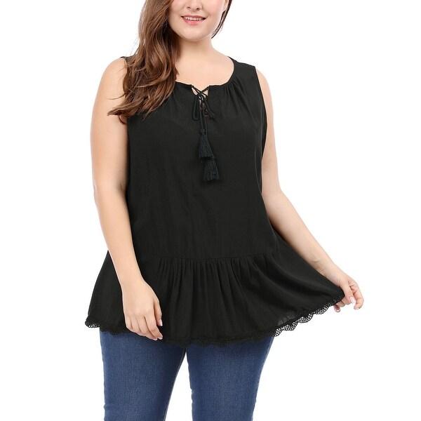 239e9606032 Shop Allegra K Women s Plus Size Lace Trim Lace-Up Front Sleeveless ...