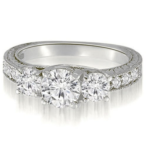 1.40 cttw. 14K White Gold Three-Stone Trellis Round Cut Diamond Engagement Ring
