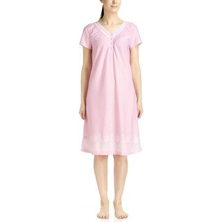 Body Touch Women's Pink Border Print Short Sleeve Nightgown