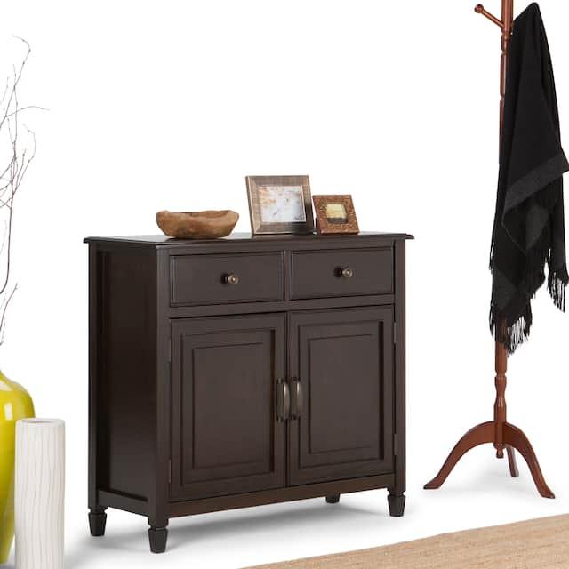 "WYNDENHALL Hampshire SOLID WOOD 40 inch Wide Traditional Entryway Storage Cabinet - 40""w x 15""d x 36"" h - Dark Chestnut Brown"