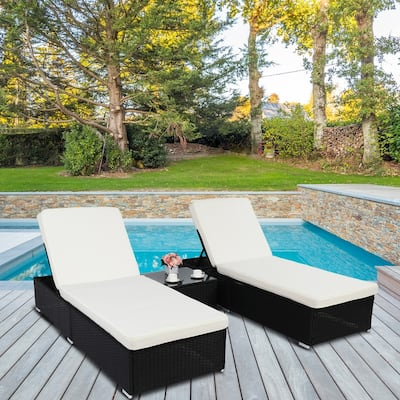Patio 3PCS Wicker Chaise Lounge Set,Beige Cushions and Black Wicker