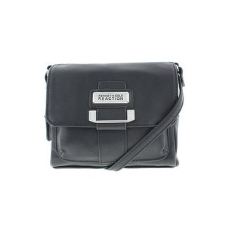 Kenneth Cole Reaction Womens Retrograde Mini Faux Leather Crossbody Handbag - Black - SMALL
