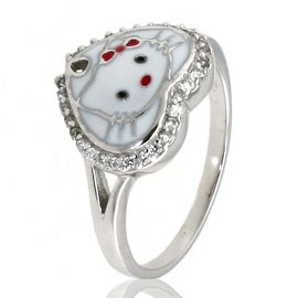 Sterling Silver Cubic Zirconia Spade Kitty Ring