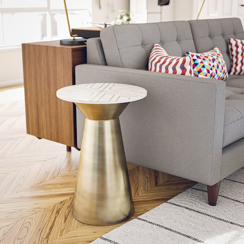 """Dorine White Marble and Antique Brass Accent Table - 16"""" x 23"""""""