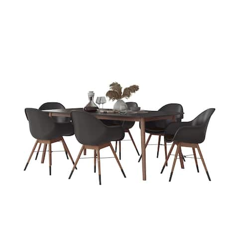 Midtown Concept Athens Indoor Dining Room Table Set Dining Set Kitchen Table with Chairs Home Decor - Black Chairs