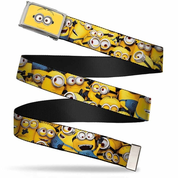 Minion Dave Face Close Up Fcg Chrome Despicable Me Minions Stacked Web Belt
