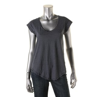 Alternative Apparel Womens Cap Sleeves Striped Casual Top - S