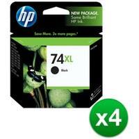 HP 74XL High Yield Black Original Ink Cartridge (CB336WN)(4-Pack)