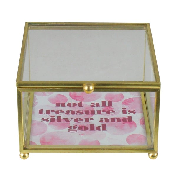 "4.25"" Gold Finished ""not all treasure is silver and gold"" Keepsake Box with Lid - N/A"