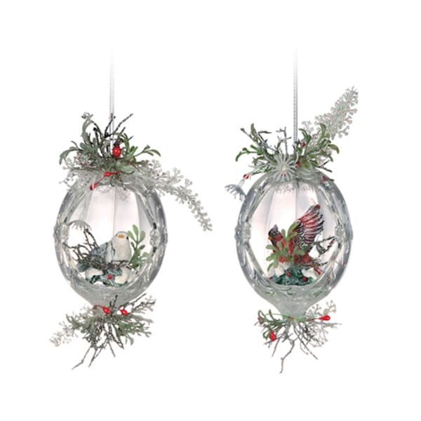 Club Pack of 12 Icy Crystal Christmas Oval Inlaid Bird Ornaments 5.5""
