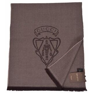 "Gucci Men's 344993 Brown Wool Hysteria Crest Logo Scarf Muffler - 70"" x15"""