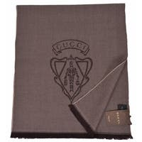 "Gucci Men's 344993 Brown Wool Hysteria Crest Logo Scarf Muffler - 70"" x15"""
