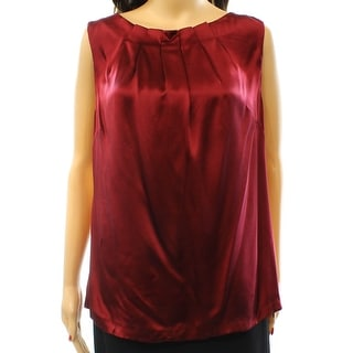 Classiques Entier NEW Red Women's Size XL Pleated Tank Silk Blouse