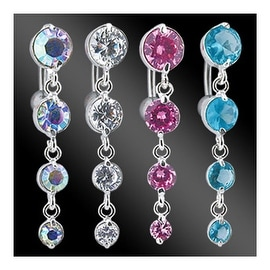 """Navel Belly Button Ring with Top-Drop 4-Vertical CZ - 14GA 3/8"""" Long (Sold Ind.)"""
