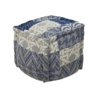 "18"" Blue, Cream and Gray Chevron and Houndstooth Wool Square Pouf"