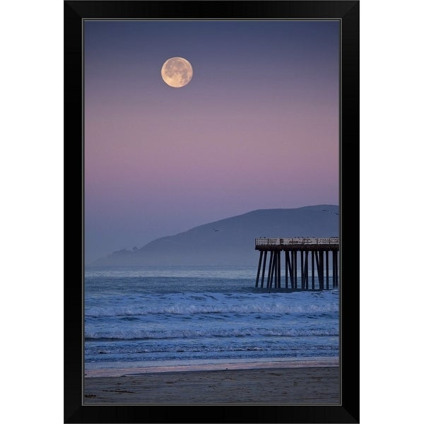"""Full moon sets over Pismo Beach at sunrise on winter morning."" Black Framed Print"