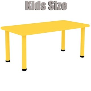 "2xhome - Yellow - Kids Table - Height Adjustable 21.5"" - 22.5"" Rectangle Child Plastic Activity Table Bright Colorful 24"" x 48"""