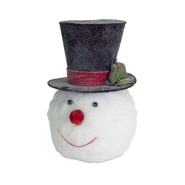 """Pack of 2 Wintry and Festive Christmas Snowman Head with Top Hat Decoration 16"""""""