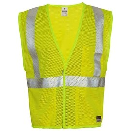 Flame-Resistant Breathable Lime Mesh Traffic Safety Vest