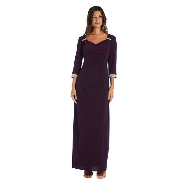 R & M Richards Column Gown with 3/4 Sleeves. Opens flyout.