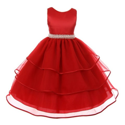 Chic Baby Little Girls Red Organza Overlaid Pearl Flower Girl Dress
