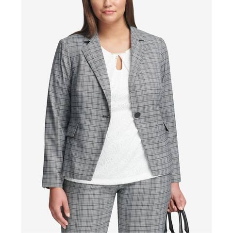 Calvin Klein Women's Blazer Gray Size 16W Plus Plaid Single Button