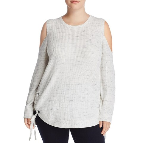 Love Scarlett Womens Plus Pullover Sweater Knit Cold Shoulder