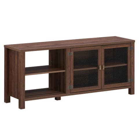 Gymax TV Stand Entertainment Center for TV's up to 65'' w/ 2 Metal - Walnut - See Details