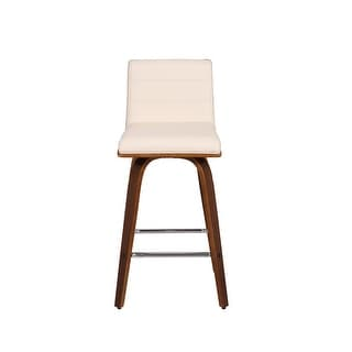 Link to Carson Carrington Skara 26-inch Swivel Counter Height Barstool in Walnut Wood Finish with PU Upholstery (As Is Item) Similar Items in As Is