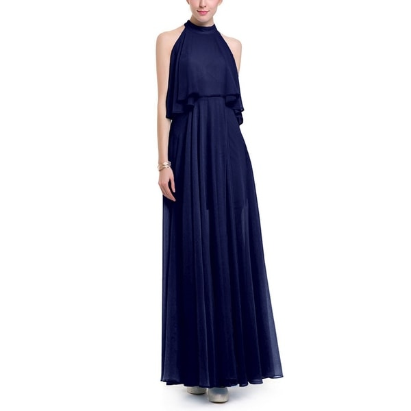 c45d3a4c2f4d7 Women's Sleeveless Halter Neck Vintage Chiffon Colorblock Maxi Dress