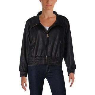 Lauren Ralph Lauren Womens Petites Jacket Faux Leather Long Sleeves - pm