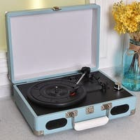 Costway Vintage Vinyl Record Player 3-Speed Turntable Stereo RCA MP3 Portable Suitcase - Blue