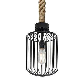 Besa Lighting 1JT-SULTANA-C Sultana Single Light Caged Rope-Hung Mini Pendant