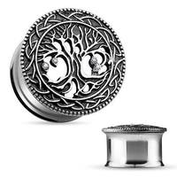 Tree of Life Face 316L Surgical Steel Double Flare Tunnel (Sold Individually)