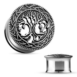 Tree of Life Face 316L Surgical Steel Double Flare Tunnel (Sold Individually) (More options available)