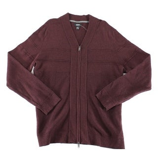Alfani NEW Port Heather Red Mens Size XL Ribbed Full Zip Sweater