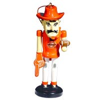 "6"" NCAA Oklahoma State Cowboys Mascot Wooden Nutcracker Christmas Ornament - ORANGE"