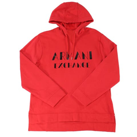 Armani Exchange Mens Sweater Red Size XL Hooded Logo Pullover Fleece