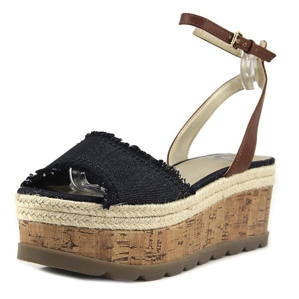 G By Guess Baker Women Open Toe Canvas Blue Wedge Sandal