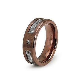 7.0mm Rose Gold Titanium Ring with Stainless Steel Cables and CZ (Sizes 7-12)