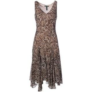 Lauren Ralph Lauren Womens Printed Sleeveless Wear to Work Dress