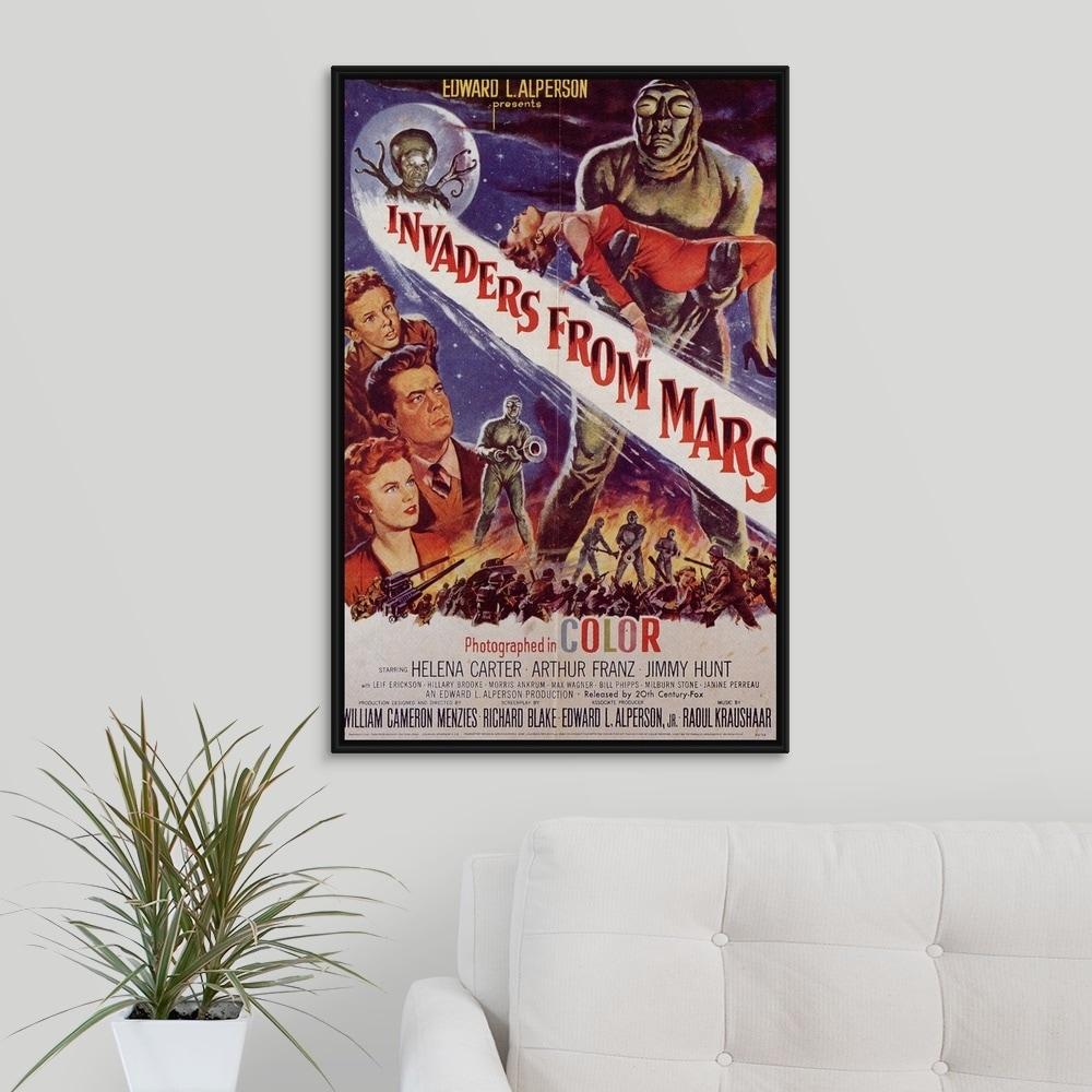 Floating Frame Premium Canvas with Black Frame entitled Invaders From Mars  (1953) - Multi-Color