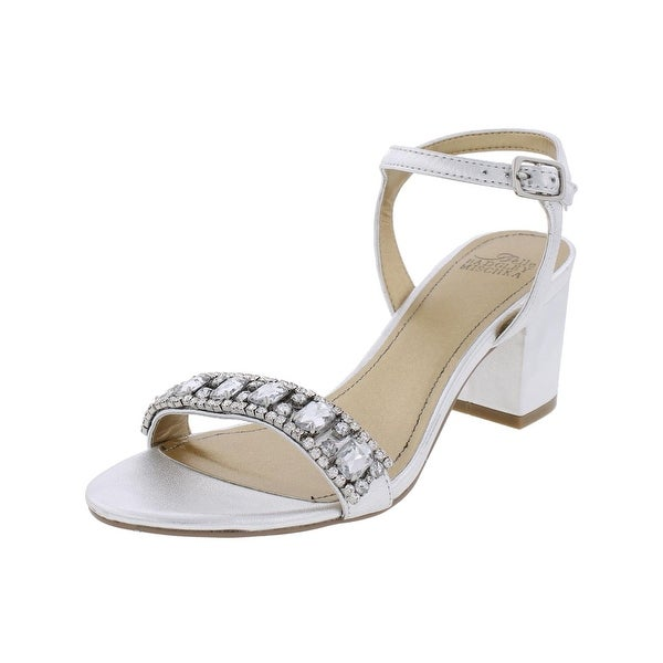Belle Badgley Mischka Womens Stargaze Evening Sandals Leather Embellished