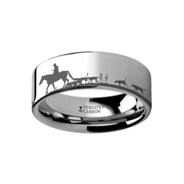 THORSTEN - Animal Landscape Scene Fox Hunt Hunting Ring Engraved Flat Tungsten Ring - 12mm