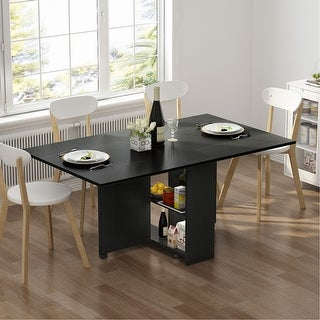 Folding Dining Table 6 Wheels Movable Table