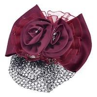 Unique Bargains Burgundy Polyester Flower Bowknot Ornament Hairnet Metal Barrette Hair Clip
