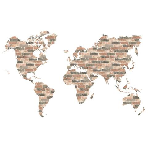 Brewster WPK2817 13 Piece Brick Wall World Map Wall Decorating Kit - Red